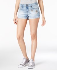 Rampage Juniors' Appliqued Denim Shorts Church