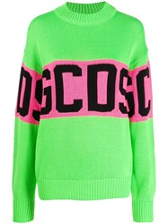Gcds Logo Knit Sweater Green