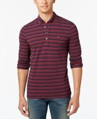 Tommy Hilfiger Men's Big And Tall Vanderbilt Striped Pique Long Sleeve Polo Tawny Port Pt Multi