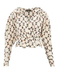 Isabel Marant Blinea Geometric Print Stretch Silk Wrap Top Ivory Multi