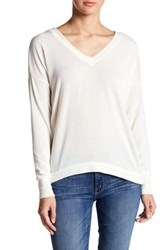 Poof Back Criss Cross V Neck Shirt White
