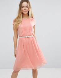 Jasmine Skater Dress With Pleat Detail Front L.Pink