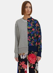 Msgm Reworked Floral Striped Sweater Navy