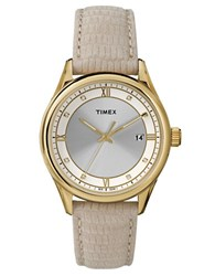 Timex Ladies Goldtone Round Watch With Embossed Leather Strap Tan