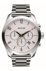 Nixon 'Bullet' Guilloche Chronograph Bracelet Watch 42Mm Silver White Bright Coral