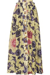 Just Cavalli Pleated Printed Silk Chiffon And Linen Maxi Skirt Multi