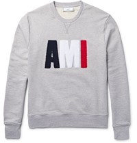 Ami Alexandre Mattiussi Terry Embroidered Loopback Cotton Jersey Sweatshirt Gray