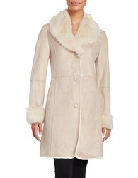 T Tahari Faux Fur Lined Sueded Coat Pale Pink