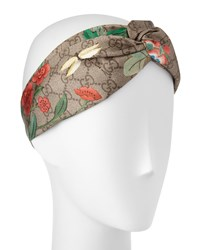 Gucci Tiana Floral Logo Silk Headband Light Brown Loden Light Brown