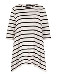 Mela Loves London Stripe Print Jersey Swing Top White