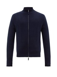 Allude Ribbed Zip Through Cashmere Sweater Navy
