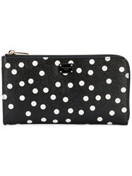Dolce And Gabbana Polka Dot Print Wallet Women Leather One Size Black