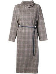 Sofie D'hoore Checked Belted Dress Grey