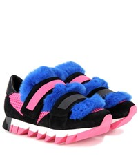 Dolce And Gabbana Fur Embellished Suede Mesh Sneakers Black