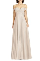 Dessy Collection Women's Lux Off The Shoulder Chiffon Gown Cameo