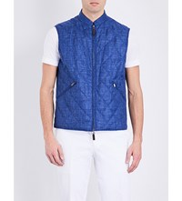 Canali Reversible Wool Blend Gilet Bright Blue