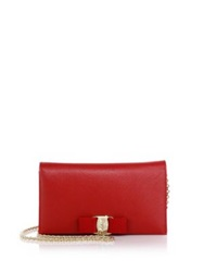 Salvatore Ferragamo Miss Vara Saffiano Leather Bow Chain Wallet Red Black