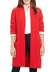 Lauren Ralph Lauren Petite Cable Knit Open Front Cardigan Red