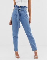 Missguided Mom Jeans With Paperbag Waist In Stonewash Blue