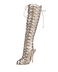 Sophia Webster Clementine Strappy To The Knee Gladiator Sandal Boot Gunmetal