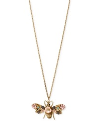Betsey Johnson Gold Tone Queen Bee Long Pendant Necklace