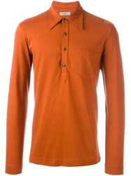 Romeo Gigli Vintage Long Sleeve Polo Shirt Yellow And Orange