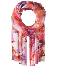 Bindya Stole Water Color Floral Scarf Pink Scarves