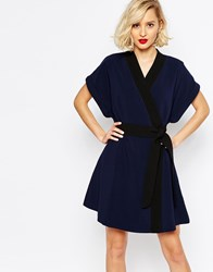 Lavish Alice Wrap Dress With Obi Belt Navy
