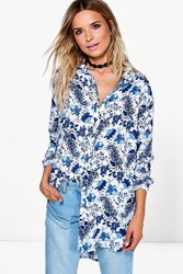 Boohoo Paisley Printed Oversized Shirt Blue