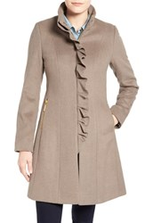 Women's T Tahari 'Kenya' Ruffle Front Wool Blend Coat Pebble