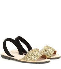 Del Rio London Glitter And Suede Sandals Gold