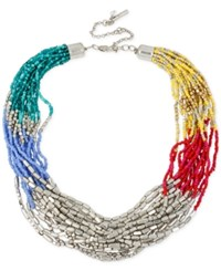 Kenneth Cole New York Silver Tone Colorful Torsade Collar Necklace