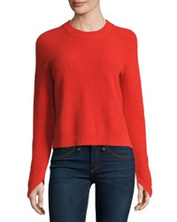 Rag And Bone Valentina Ribbed Cashmere Sweater Fiery Red