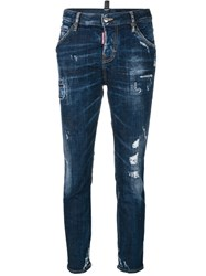 Dsquared2 Cropped Cool Girl Jeans Women Cotton Calf Leather Polyester Spandex Elastane 44 Blue
