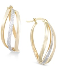 Macy's Textured Two Tone Wavy Hoop Earrings In 14K Gold And White Gold