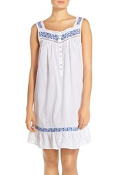 Women's Eileen West Embroidered Cotton Short Nightgown White Navy Floral Embroidery