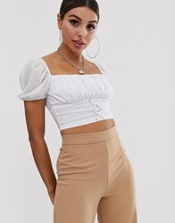 Naanaa Ruched Milkmaid Crop Top With Lace Up Front In White