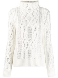 Ermanno Scervino Cable Knit Jumper White