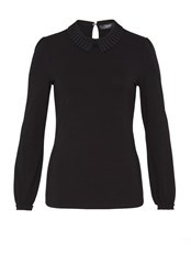 Hallhuber Long Sleeve With Pleated Collar Black