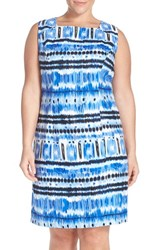 Plus Size Women's Tahari Ikat Print Linen Bland Sheath Dress