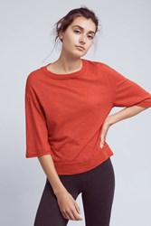Anthropologie Oversized Crewneck Tee Red