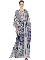 Larusmiani Floral Printed Silk Caftan Dress