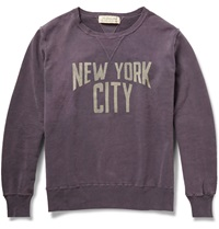 Remi Relief Printed Washed Loopback Cotton Jersey Sweatshirt Purple