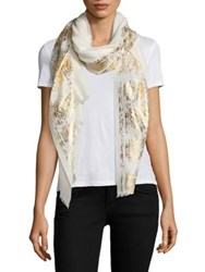 Bajra Metallic Trim Wool And Silk Scarf White Gold Charcoal