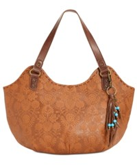The Sak Indio Leather Extra Large Satchel Tobacco Floral Emboss