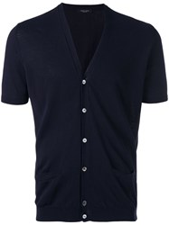 Roberto Collina Short Sleeved Cardigan Men Cotton 50 Blue