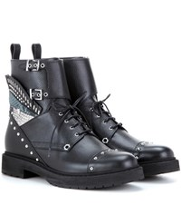 Fendi Embellished Leather Combat Boots Black