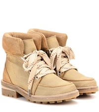 Ganni Laura Suede Trimmed Ankle Boots Beige