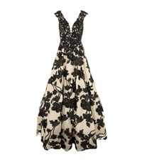 Jovani Floral Embroidered Evening Gown Female Black