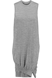 Alexander Wang Wrap Effect Merino Wool Mini Dress Gray